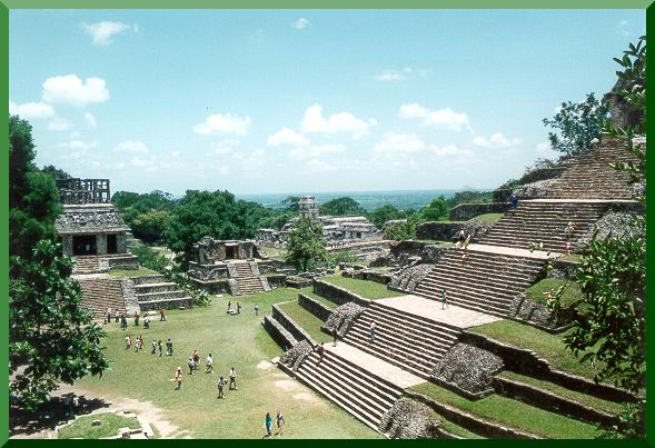 Panoramic of the Maya City of Palenque, in Chiapas, Mexico