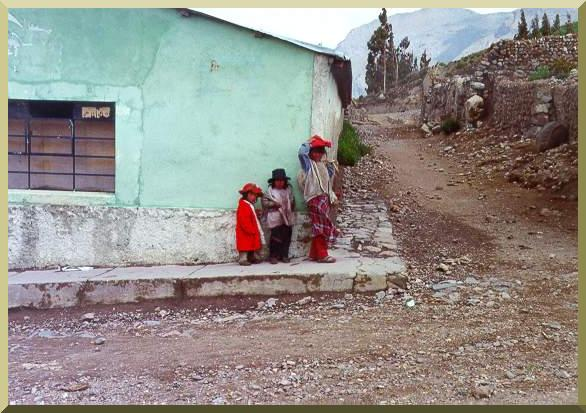 Local kids in a street of Chivay, in the Colca Canyon, Arequipa, Peru.