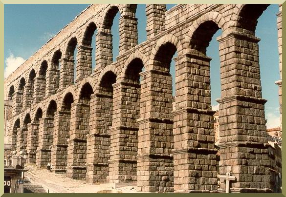 Roman acueduct in Segovia, Spain.
