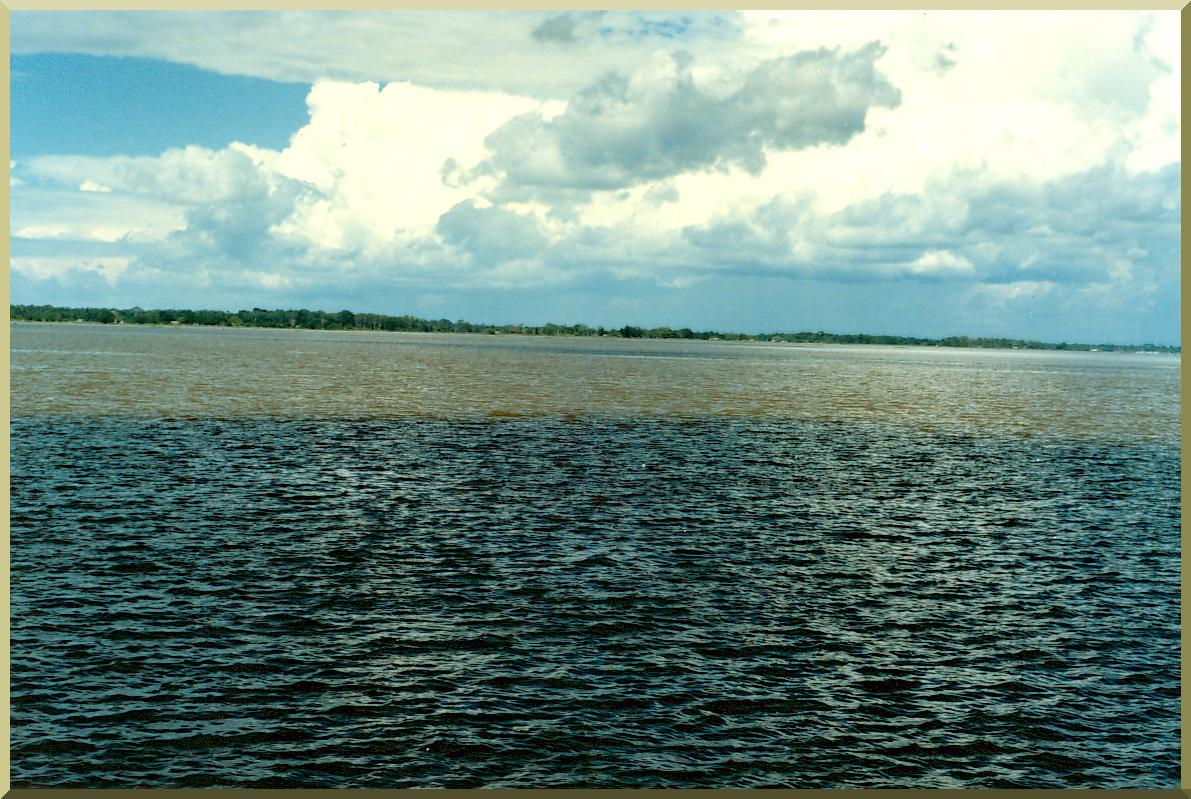 Confluence of the Negro and Amazon rivers near Manaus