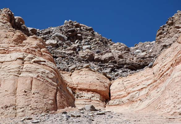 Close view of sedimentary formations on the slopes