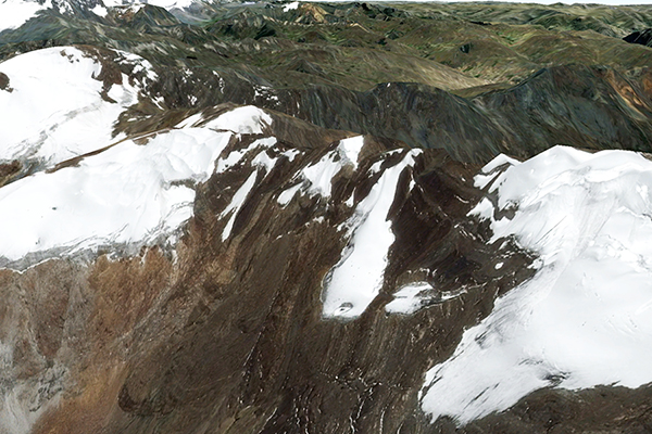 Closeup of the Yanamarey glacier, showing most recent melt