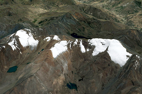 Aerial perspective  of the Yanamarey glacier, White Range, Peru.